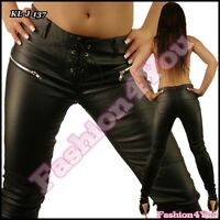 Sexy Ladies Black Leather Look Trousers Womens Skinny Pants Size 6,8,10,12,14 UK