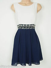 BNWT TFNC Navy and Cream Two in One Dacey Beaded Occasion Dress Size 14 RRP £57