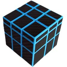 CuberSpeed Fangge Mirror Blue with Black Carbon Fiber stickers 3x3 Magic cube