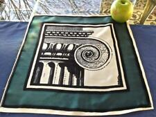 "Vintage Silk Pocket Handkerchief Architectural Black Seafoam Green Print 13""sq"