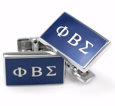 Phi Beta Sigma Fraternity Cuff Links with Royal Blue Enamel / Suit & Tie / New**