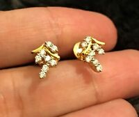 Designer Solid 14ct Yellow Gold Diamond Earrings 0.55ct Drop Studs