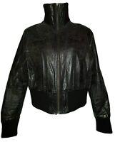 ORIGINAL SINNER Women's Brown Handcrafted Real Leather Biker Jacket. Size UK 14.