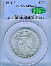 1941-S Walking Liberty Half Dollar : PCGS MS64+ PLUS CAC Sticker