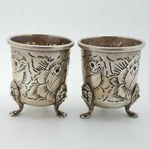Baldwin & Miller Sterling Silver 925 Hand Chased 2 Toothpick Holder or Cup