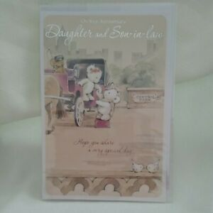 DAUGHTER AND SON IN LAW ANNIVERSARY CARD - Simon Elvin TEDDIES & CARRIAGE