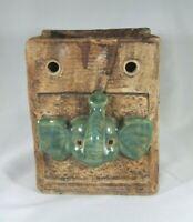 Vintage Elephant Face On Ceramic Bag Planter Green And Brown Trunks Up