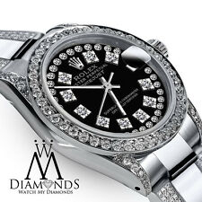 Women's 26mm Rolex Oyster Perpetual Datejust Custom Black String Diamonds Dial