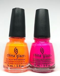 China Glaze Nail Polish Orange Knockout 1005 + Purple Panic 1008 Neons Lacquer
