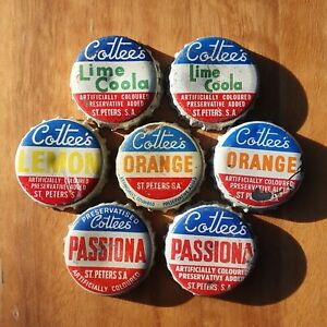 7 x COTTEES (St. Peters, SA) Bottle Caps / Tops 1960's Soft Drink Cottee's