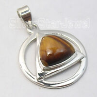 925 Stamp Pure Sterling Silver Yellow & Brown Fancy Tiger's Eye Pendant Jewelry