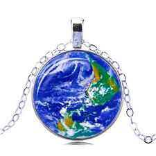 Vintage Style Glass Pendant Blue Globe World Map Lands & Oceans Necklace N469