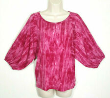 Michael Michael Kors Women Small Top Blouse Fuchsia Tie Dye Raglan Smocked Cuffs