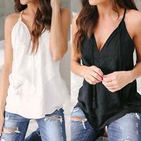 Women Tank Tops Blouse Lace Sleeveless Vest T Shirt Summer Beach Cami Shirts NEW