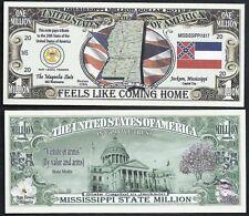 MISSISSIPPI STATE MILLION DOLLAR w MAP, SEAL, FLAG, CAPITOL - Lot of 10 Bills