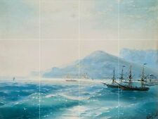 Ships Near the Coast Tile Mural Kitchen Bathroom Wall Backsplash Art 24x18