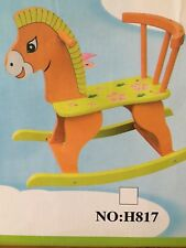 Wooden Rocking Horse Boys Girls Toddler Kids Outdoor Indoor Toys Yellow Red