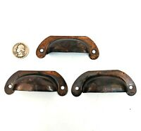 3 Copper Bin Pulls drawer door handle tool box vintage rustic old shabby 3 1/2""