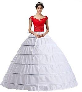 Women Crinoline Petticoat A-line 6 Hoop Skirt Slips Long Wedding Gown Underskirt