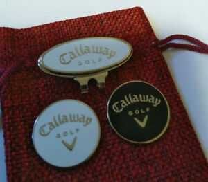 """White & Black Callaway 1"""" magnetic Golf ball Markers & pouch with free hat clip"""