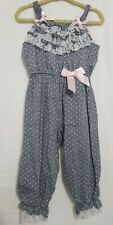 Rare Editions Baby Toddler Romper 2T Jumper Boutique Pink blue polka dots