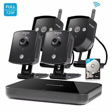 Zmodo 1080p HDMI NVR 4 720P Wireless IP IR-Cut Home Security Camera System 1TB