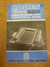 11/03/1961 Birmingham City v Aston Villa  (Creased, Folded, Worn, Numbers Noted