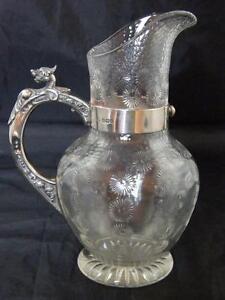 STEVENS & WILLIAMS STAR CUT & FACETED GLASS JUG 1908 HM SHEFEILD SILVER HANDLE A