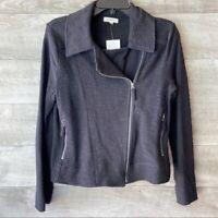 Max studio women's black zip up collared long sleeve jacket blazer size: S
