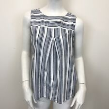 New Look Ladies Blue White Striped Pleat Front Sleeveless Blouse Top UK Size 12