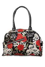 BANNED APPAREL SKULL ROSES HANDBAG BLACK LADY FLOWERS SKULL SKELETON BAG PURSE
