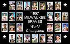 1957 Milwaukee Braves World Series Baseball Card Poster 17x11 Unique Decor Art