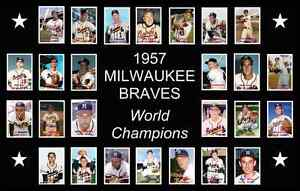 1957 MILWAUKEE BRAVES World Series Team POSTER Man Cave Decor Fan Xmas Gift 57