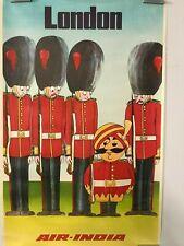 Vintage Air India Travel Advertisement Poster London England Original Maharajah