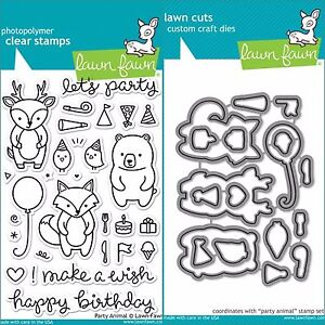 """Lawn Fawn """"PARTY ANIMAL"""" Clear Stamps Only OR Clear Stamp and Die Bundle"""