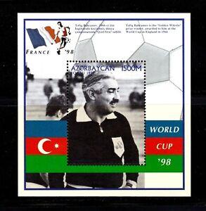 Azerbaijan Souvenir Sheet #666,  MNHOG, XF - sup, topical, World Cup Soccer '98