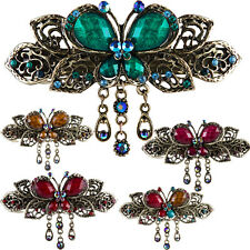 Butterfly Hair Clips Styling Barrette Bridal Rhinestone Vintage Jewelry Hairpin