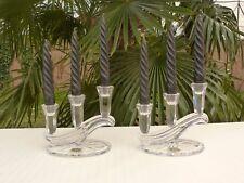 Paire de bout de table bougeoirs trois branches en cristal BUDER Ref 707
