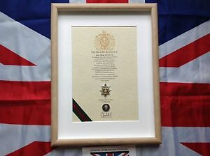 Oath of Allegiance Worcestershire & Sherwood Foresters (framed with Cap Badge)