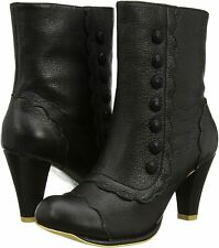 Irregular Choice Brook (D) Black Leather Zip Up Ankle Boots Shoes
