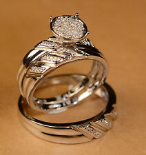 His/Hers Diamond and White Gold Finish Engagement Ring And Multi Wedding Bands