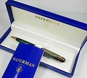 Waterman Ballpoint Pen Paris Marble Green w/ Box & Booklet