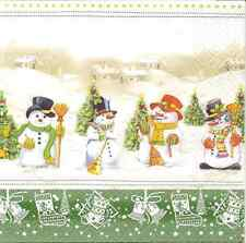 4 Single Paper Table Napkins for Decoupage Snowman Meeting Winter Christmas