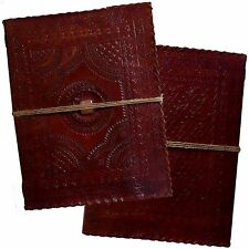 """13"""" Real Leather Handmade Vintage Sketchbook Scrapbook Journal with Square Stone"""