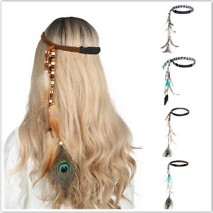 Bohemian Feather Headband Scrunchies Tribal Hair Band Women Girl Hippie Weaving