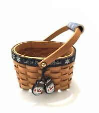 Wooden Basket Handpainted w/Ceramic Accent on Handle - Snow Theme