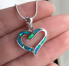 Beautiful Simple Heart Blue Fire Opal 925 Silver Pendant And Chain