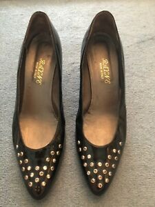 Rayne Black Leather Court Shoes With Crystal Stones at Front of Shoes Size 40.5