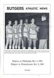 1969 Rutgers vs Pittsburgh Pennsylvania Basketball Program Signed HC Bill Foster