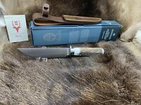 """Muela """"ELK"""" 10 1/4"""" Stag Fixed Blade Knife Mint In Box With Leather Sheath 14A.I"""